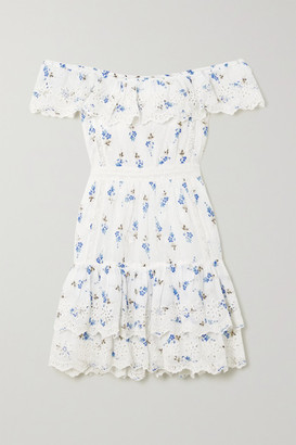 LoveShackFancy Denver Off-the-shoulder Tiered Floral-print Broderie Anglaise Cotton Mini Dress - White