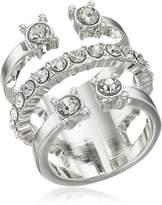 BCBGeneration Rhodium Crystal 3 Part Ring, Size 7