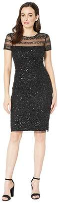 Adrianna Papell Beaded Illusion Cocktail Dress (Black) Women's Dress
