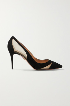 Aquazzura Savoy 85 Mesh-trimmed Suede Pumps - Black