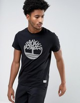 Timberland Plasitsol Tree Logo T-shirt Slim Fit In Black