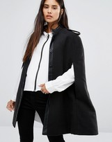 Noisy May Cape Coat with Leather Look Detail