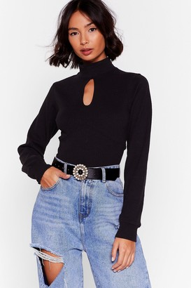 Nasty Gal Womens Open to New Ideas Cut-Out Ribbed Top - Black - 4