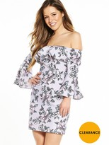 Miss Selfridge Petite Bardot Print Flute Sleeve Dress