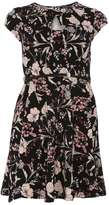 Dorothy Perkins Black botanical print belted dress