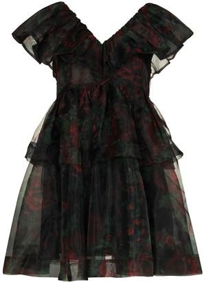 Ganni Organza Rose Print Mini Dress