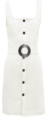 Solid & Striped Belted Button-front Denim Mini Dress - Cream