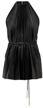 Ellery Philodemus Halterneck Pleated Faux-leather Top - Womens - Black