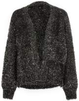 River Island Womens Black metallic tinsel knit cardigan