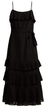 Zimmermann Pleated Polka-dot Fil-coupe Dress - Womens - Black