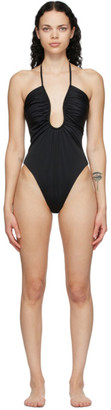 Fendi Black Forever Plunge One-Piece Swimsuit