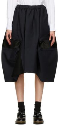 Comme des Garçons Comme des Garçons Navy Velvet Insert Midi Skirt