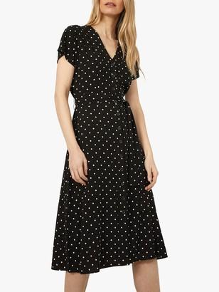 Warehouse Spot Button Through Midi Dress, Black/White
