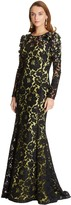 Oscar de la Renta Embroidered Corded Rose Lace Gown