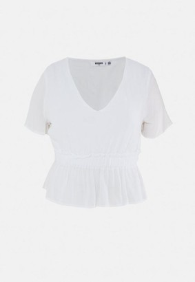 Missguided Size White Cheesecloth Plunge Blouse