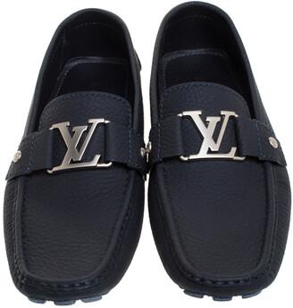 Louis Vuitton Navy Blue Textured Leather Montaigne Moccasins Size 42