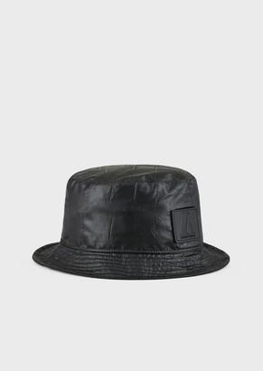 Emporio Armani Crocodile Print Nylon Cloche Hat