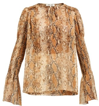 Diane von Furstenberg Rohini Python-print Silk Blouse - Womens - Brown Print