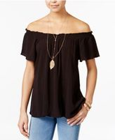 Self Esteem Juniors' Off-The-Shoulder Peasant Top with Necklace