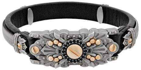 Stephen Webster Leather & Sterling Silver With Magnetic Clasp Bracelet