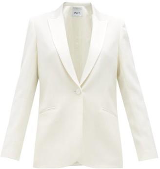 Pallas X Claire Thomson-jonville - Facette Satin-trim Wool-twill Tuxedo Jacket - Womens - White