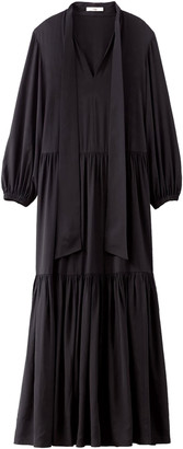 Tibi Heavy Silk Tie Neck Ruffle Dress in Black