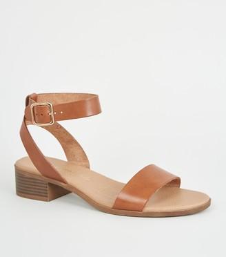 New Look Leather Low Block Heel Sandals