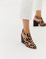 Asos Design DESIGN Tiger leopard print leather pointed heeled shoes