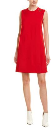 Valentino Overlapping Panel Wool-Blend Sheath Dress
