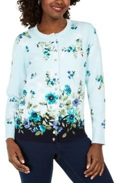 Karen Scott Cascading Rose Printed Button Cardigan, Created for Macy's