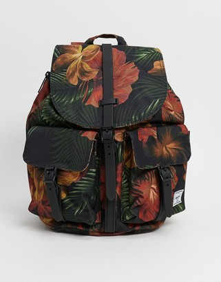 Herschel dawson backpack in black and tropical floral
