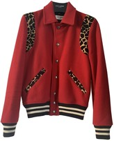 Saint Laurent Red Wool Leather Jacket for Women