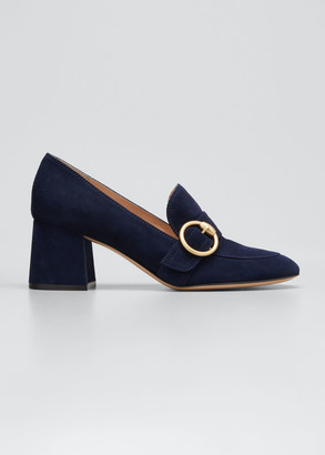 Gianvito Rossi Suede Buckle Loafer Pumps