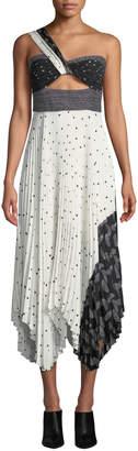 A.L.C. Aurora Printed One-Shoulder Plisse Midi Dress