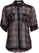 Navy Checked 3/4 Sleeve Sheer Shirt
