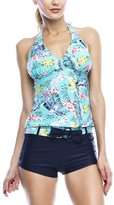 Marina West Women's Halter Tankini & Shorts Swimsuit Set (2 Piece)