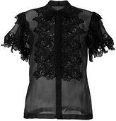 Alberta Ferretti frill sheer blouse