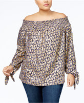 MICHAEL Michael Kors Size Metallic-Print Peasant Top, a Macy's Exclusive Style
