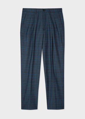 Paul Smith Men's Blue Check Wool-Blend Pleated Trousers