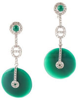 NEW RARITIES Sterling Silver Green Agate Zirconia Drop Earrings $600