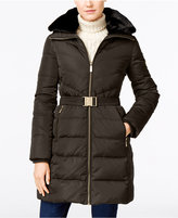 MICHAEL Michael Kors Faux-Fur-Collar Belted Hooded Down Puffer Coat