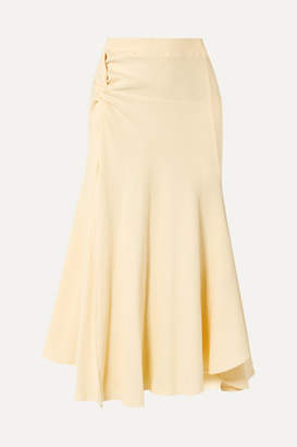 Maggie Marilyn Net Sustain Honey Ain't Home Knotted Ribbed Stretch-cotton Jersey Midi Skirt - Ecru