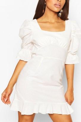 boohoo Petite Linen Look Volume Sleeve Mini Dress