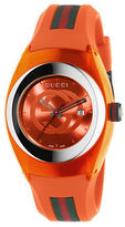 Gucci Sync Stainless Steel and Orange Rubber Strap Watch, YA137311