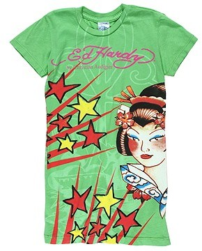 Ed Hardy Kids - Bold Print Tattoo Tunic (Toddler/Little Kids/Big Kids) (Green Geisha)