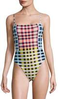 Mara Hoffman One-Piece Plaid Scoop Back Swimsuit