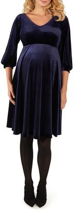Tiffany Rose Maternity Roxie V-Neck Bishop-Sleeve Velvet Dress