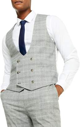 Topman Check Slim-Fit Suit Vest
