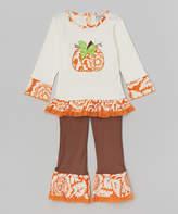 White Pumpkin Top & Brown Pants - Toddler & Girls