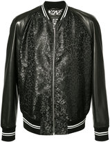 Alexander McQueen leather-panelled bomber jacket